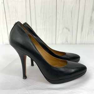 Coach Shoes - COACH WOMENS BLACK LEATHER HEELS PUMPS 5.5